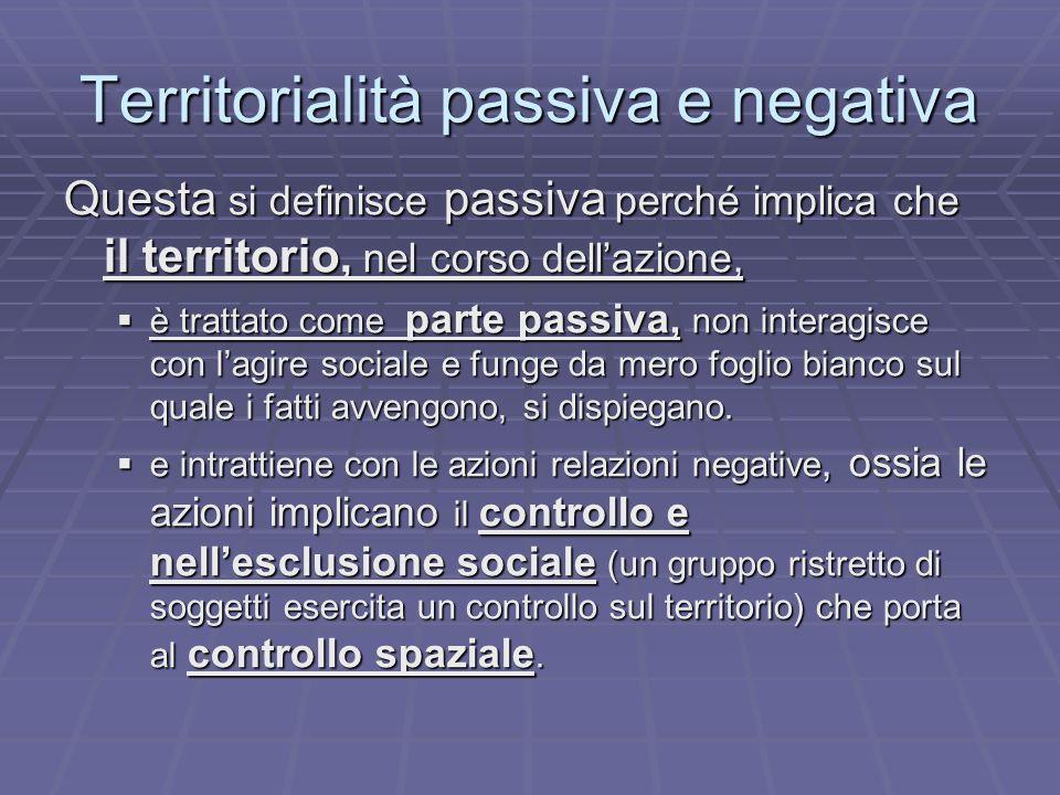 Territorialità passiva e negativa Questa si definisce passiva perché implica che il territorio, nel corso dellazione, è trattato come parte passiva, n