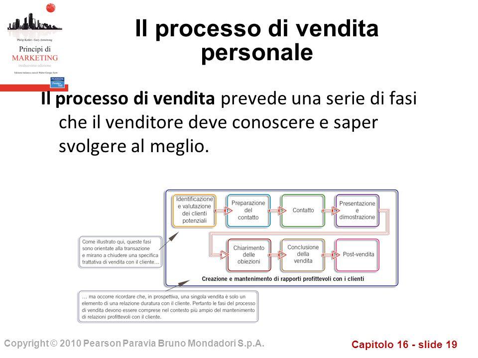 Capitolo 16 - slide 19 Copyright © 2010 Pearson Paravia Bruno Mondadori S.p.A. Il processo di vendita personale Il processo di vendita prevede una ser