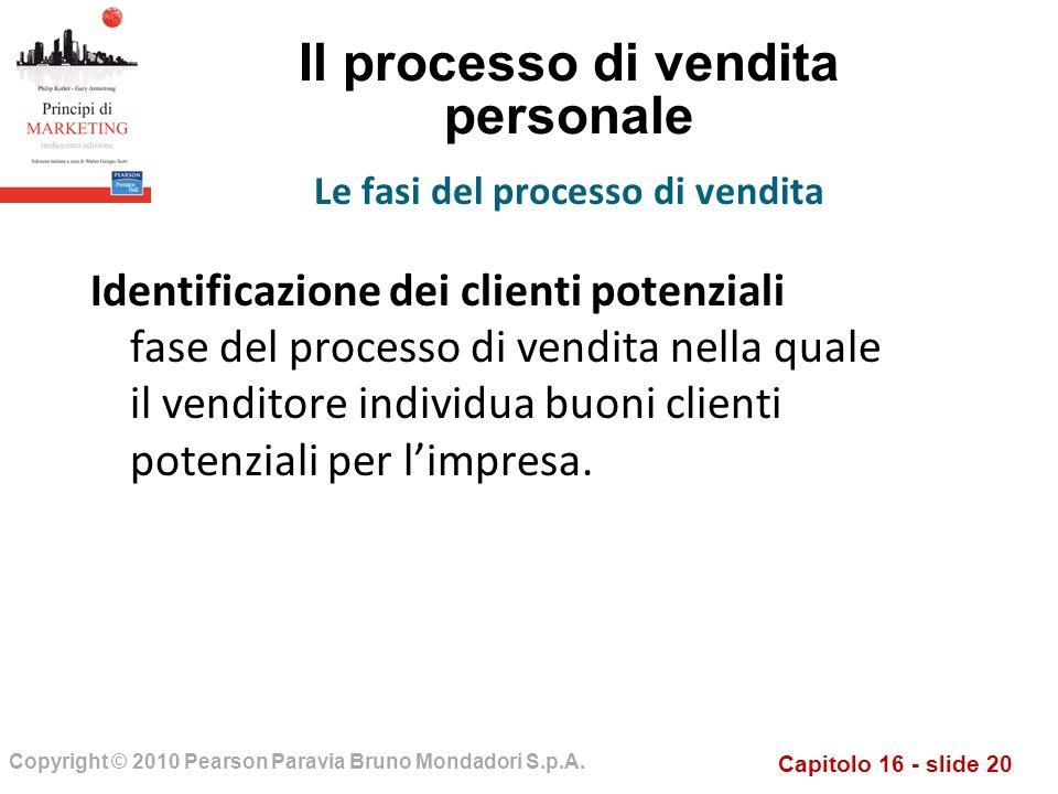 Capitolo 16 - slide 20 Copyright © 2010 Pearson Paravia Bruno Mondadori S.p.A. Il processo di vendita personale Identificazione dei clienti potenziali