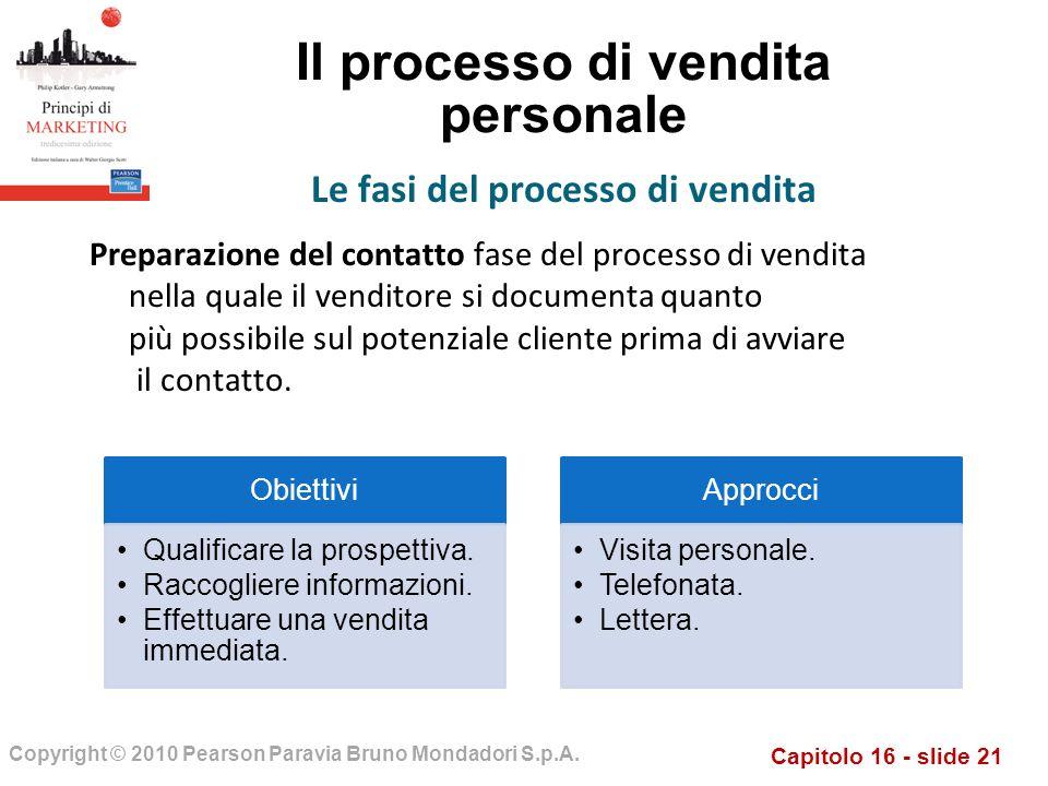 Capitolo 16 - slide 21 Copyright © 2010 Pearson Paravia Bruno Mondadori S.p.A. Il processo di vendita personale Preparazione del contatto fase del pro