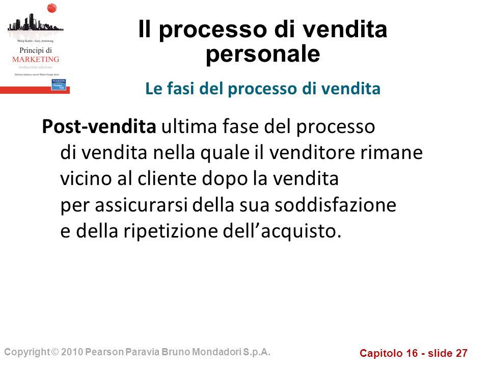 Capitolo 16 - slide 27 Copyright © 2010 Pearson Paravia Bruno Mondadori S.p.A. Il processo di vendita personale Post-vendita ultima fase del processo