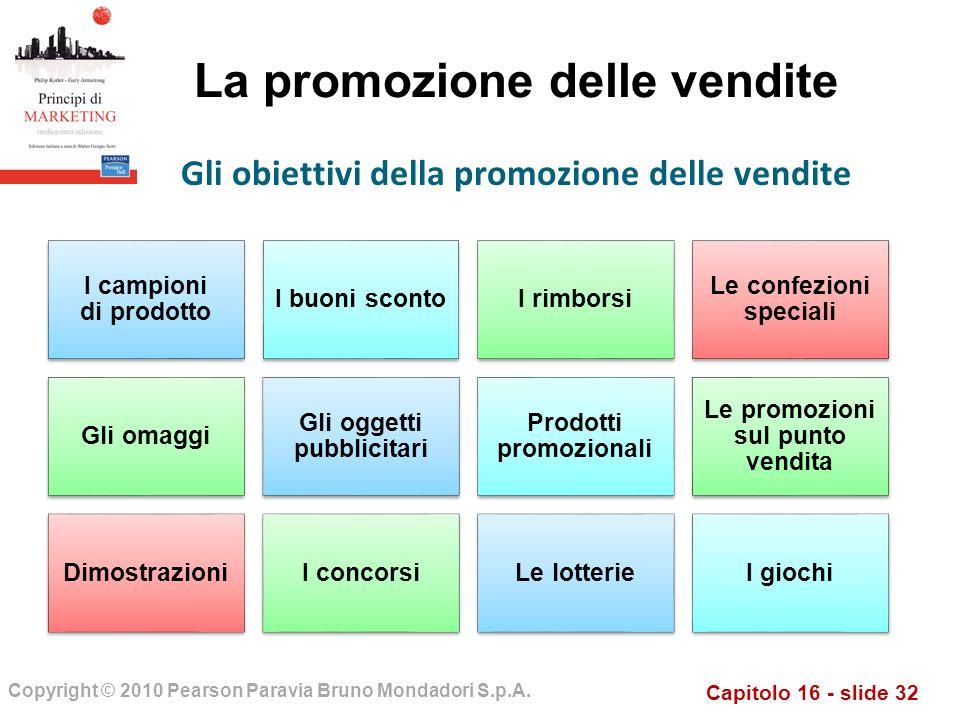 Capitolo 16 - slide 32 Copyright © 2010 Pearson Paravia Bruno Mondadori S.p.A. La promozione delle vendite I campioni di prodotto I buoni scontoI rimb