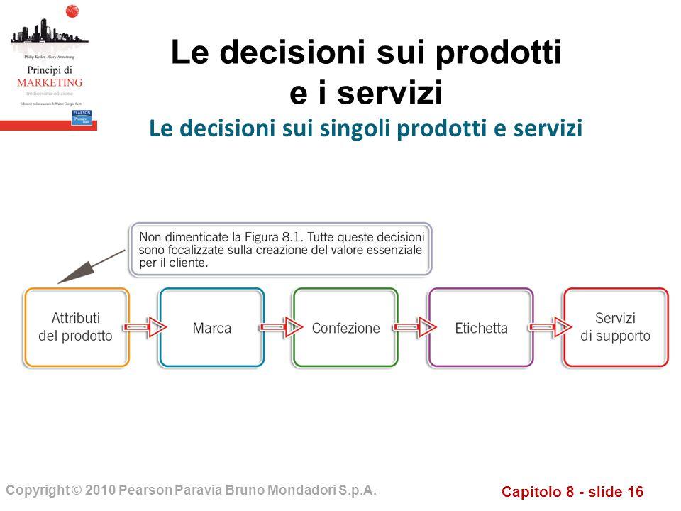 Capitolo 8 - slide 16 Copyright © 2010 Pearson Paravia Bruno Mondadori S.p.A. Le decisioni sui prodotti e i servizi Le decisioni sui singoli prodotti