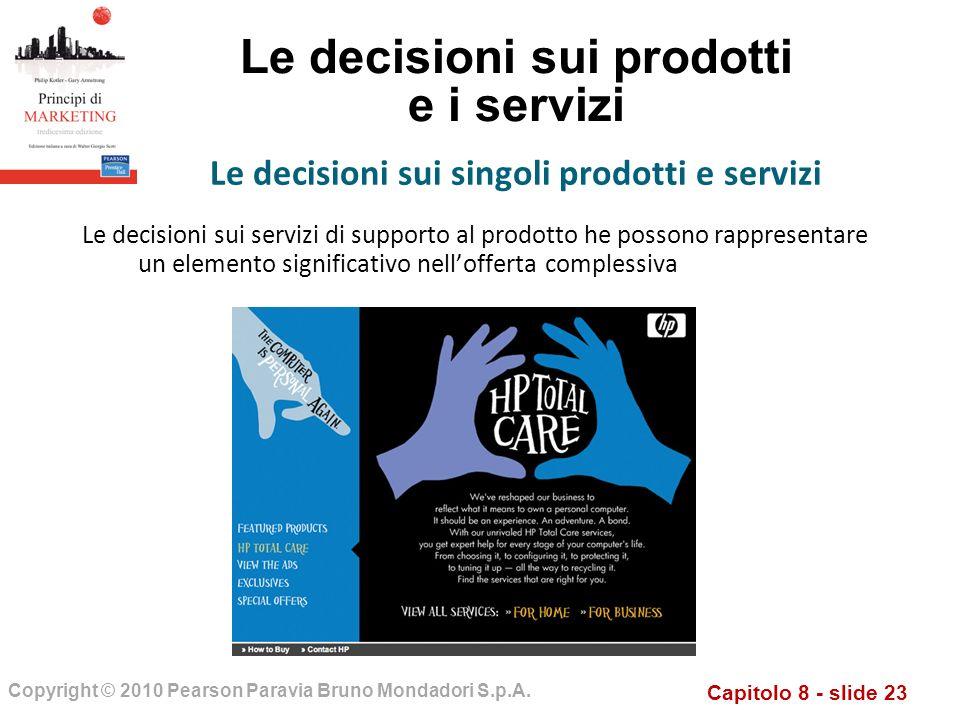 Capitolo 8 - slide 23 Copyright © 2010 Pearson Paravia Bruno Mondadori S.p.A. Le decisioni sui prodotti e i servizi Le decisioni sui servizi di suppor