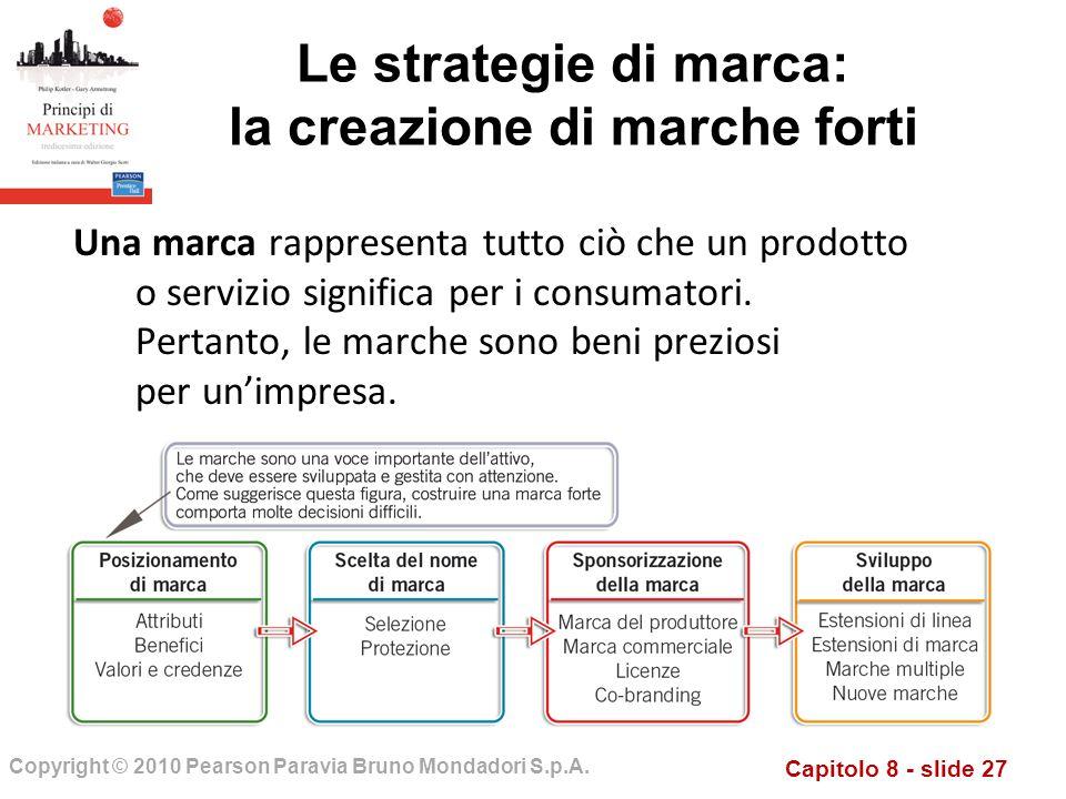 Capitolo 8 - slide 27 Copyright © 2010 Pearson Paravia Bruno Mondadori S.p.A. Una marca rappresenta tutto ciò che un prodotto o servizio significa per