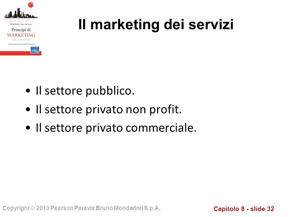 Capitolo 8 - slide 32 Copyright © 2010 Pearson Paravia Bruno Mondadori S.p.A. Il marketing dei servizi Il settore pubblico. Il settore privato non pro