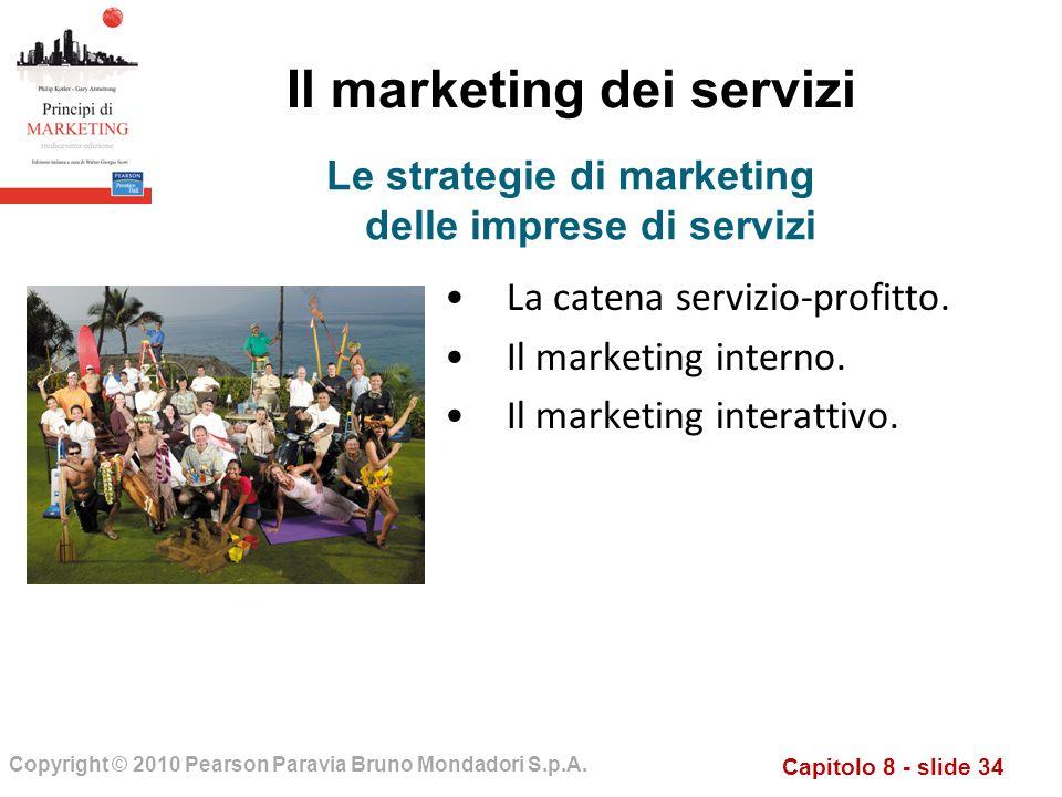 Capitolo 8 - slide 34 Copyright © 2010 Pearson Paravia Bruno Mondadori S.p.A. Il marketing dei servizi La catena servizio-profitto. Il marketing inter