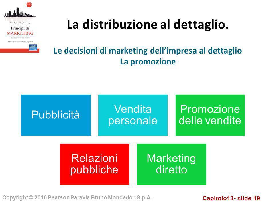Capitolo13- slide 19 Copyright © 2010 Pearson Paravia Bruno Mondadori S.p.A. La distribuzione al dettaglio. Le decisioni di marketing dellimpresa al d