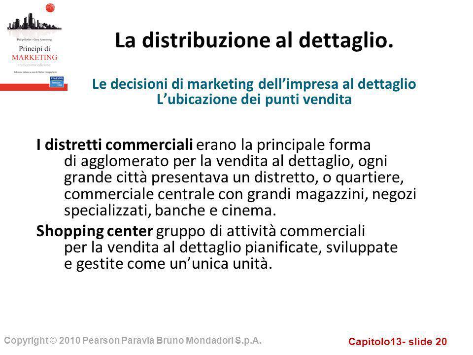 Capitolo13- slide 20 Copyright © 2010 Pearson Paravia Bruno Mondadori S.p.A. La distribuzione al dettaglio. I distretti commerciali erano la principal