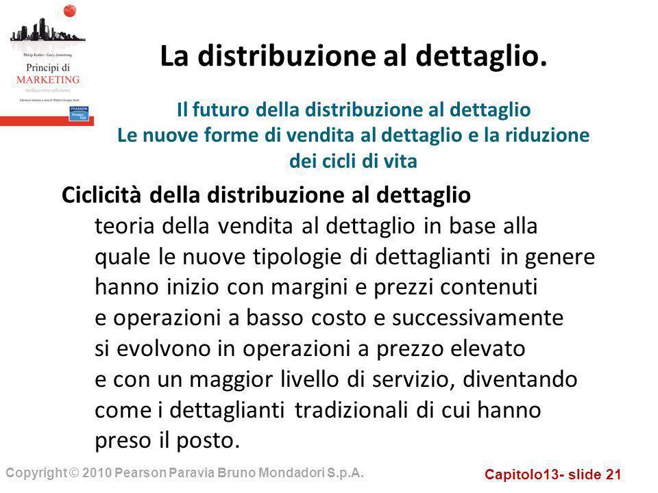 Capitolo13- slide 21 Copyright © 2010 Pearson Paravia Bruno Mondadori S.p.A. La distribuzione al dettaglio. Ciclicità della distribuzione al dettaglio