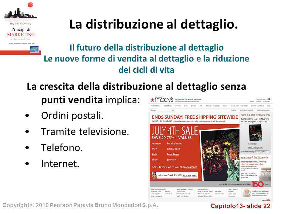 Capitolo13- slide 22 Copyright © 2010 Pearson Paravia Bruno Mondadori S.p.A. La distribuzione al dettaglio. La crescita della distribuzione al dettagl