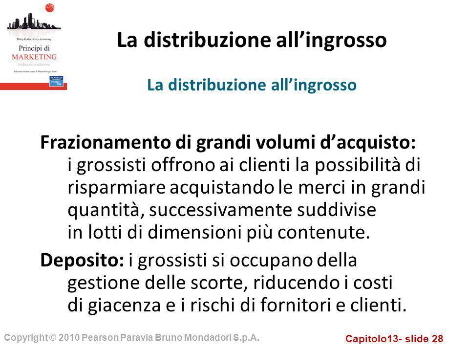 Capitolo13- slide 28 Copyright © 2010 Pearson Paravia Bruno Mondadori S.p.A. La distribuzione allingrosso Frazionamento di grandi volumi dacquisto: i