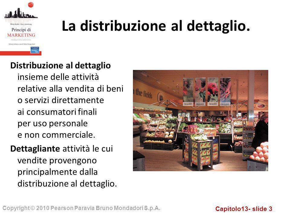 Capitolo13- slide 3 Copyright © 2010 Pearson Paravia Bruno Mondadori S.p.A. Distribuzione al dettaglio insieme delle attività relative alla vendita di