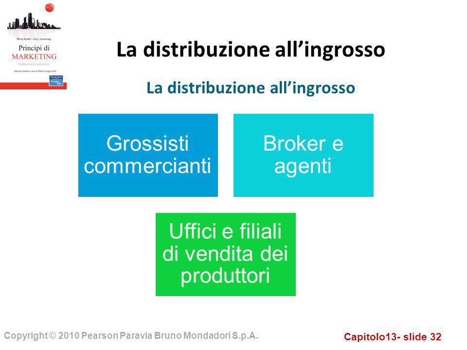 Capitolo13- slide 32 Copyright © 2010 Pearson Paravia Bruno Mondadori S.p.A. La distribuzione allingrosso Grossisti commercianti Broker e agenti Uffic