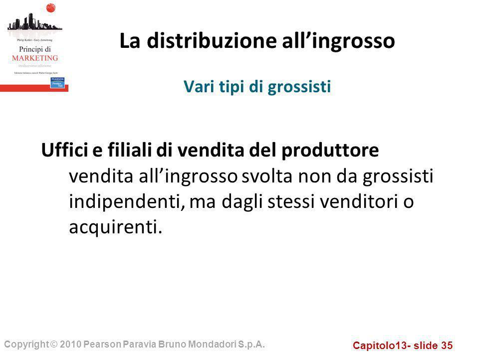 Capitolo13- slide 35 Copyright © 2010 Pearson Paravia Bruno Mondadori S.p.A. La distribuzione allingrosso Uffici e filiali di vendita del produttore v