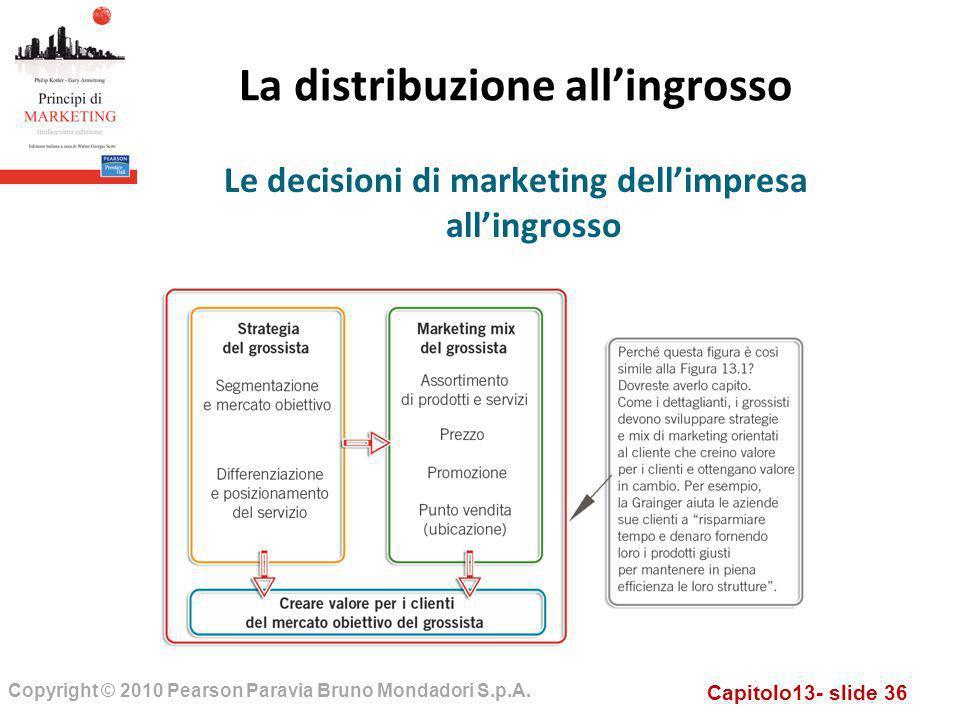 Capitolo13- slide 36 Copyright © 2010 Pearson Paravia Bruno Mondadori S.p.A. La distribuzione allingrosso Le decisioni di marketing dellimpresa alling