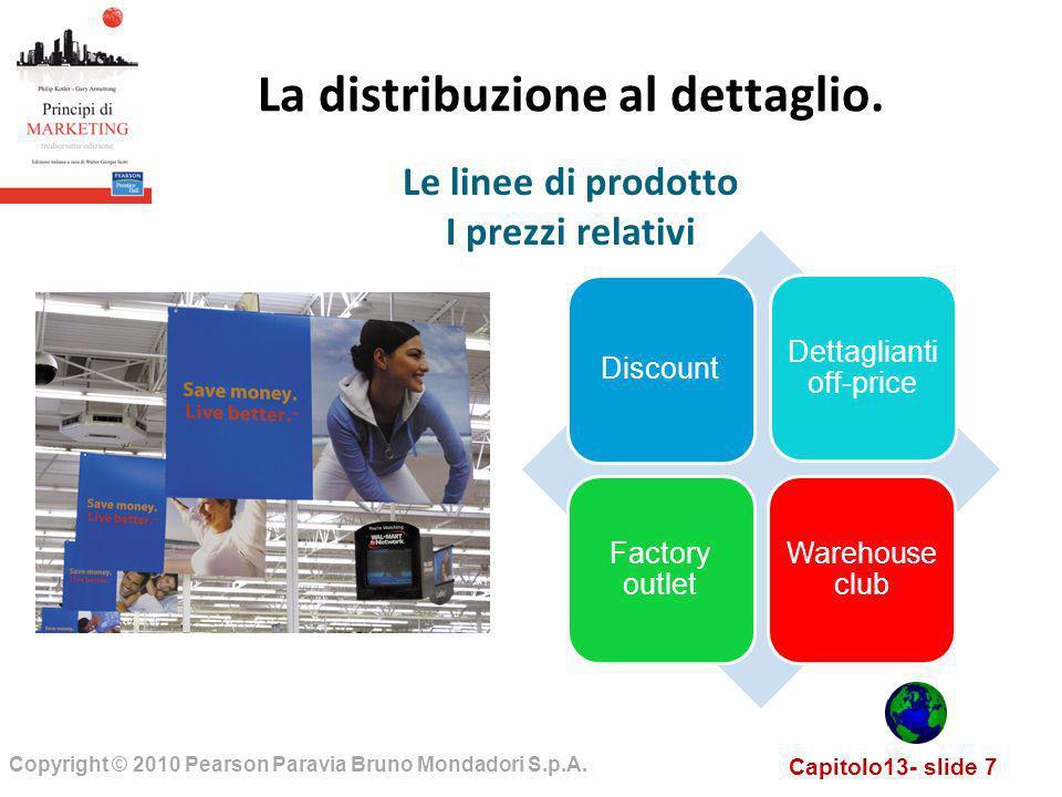 Capitolo13- slide 7 Copyright © 2010 Pearson Paravia Bruno Mondadori S.p.A. La distribuzione al dettaglio. Le linee di prodotto I prezzi relativi Disc