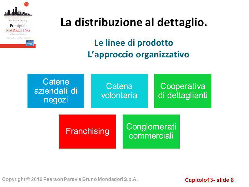 Capitolo13- slide 8 Copyright © 2010 Pearson Paravia Bruno Mondadori S.p.A. La distribuzione al dettaglio. Le linee di prodotto Lapproccio organizzati