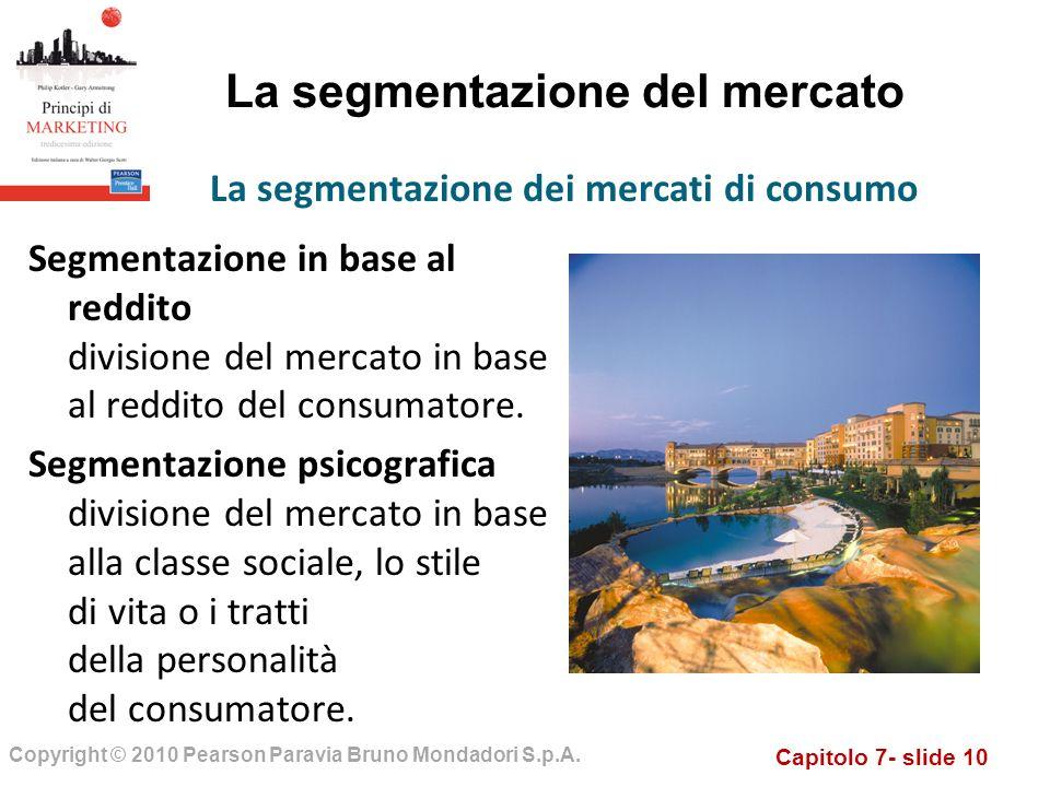 Capitolo 7- slide 10 Copyright © 2010 Pearson Paravia Bruno Mondadori S.p.A. La segmentazione del mercato Segmentazione in base al reddito divisione d