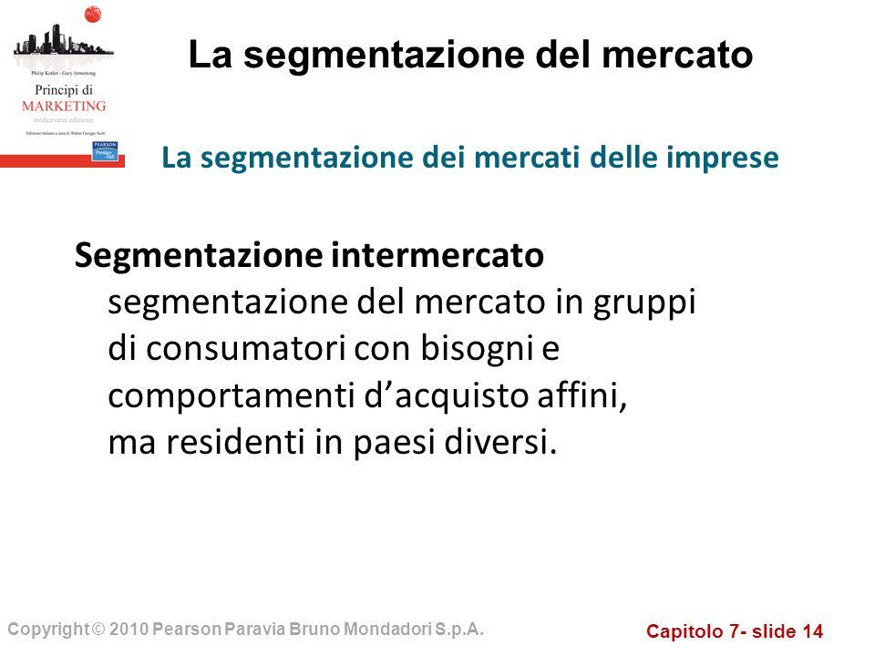 Capitolo 7- slide 14 Copyright © 2010 Pearson Paravia Bruno Mondadori S.p.A. La segmentazione del mercato Segmentazione intermercato segmentazione del
