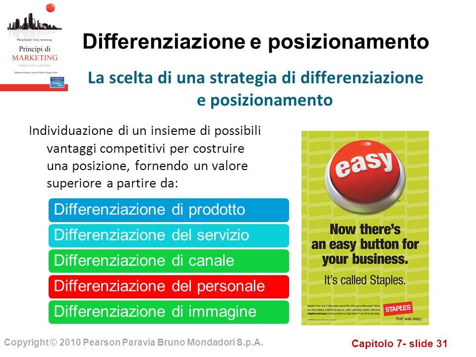 Capitolo 7- slide 31 Copyright © 2010 Pearson Paravia Bruno Mondadori S.p.A. Differenziazione e posizionamento Individuazione di un insieme di possibi