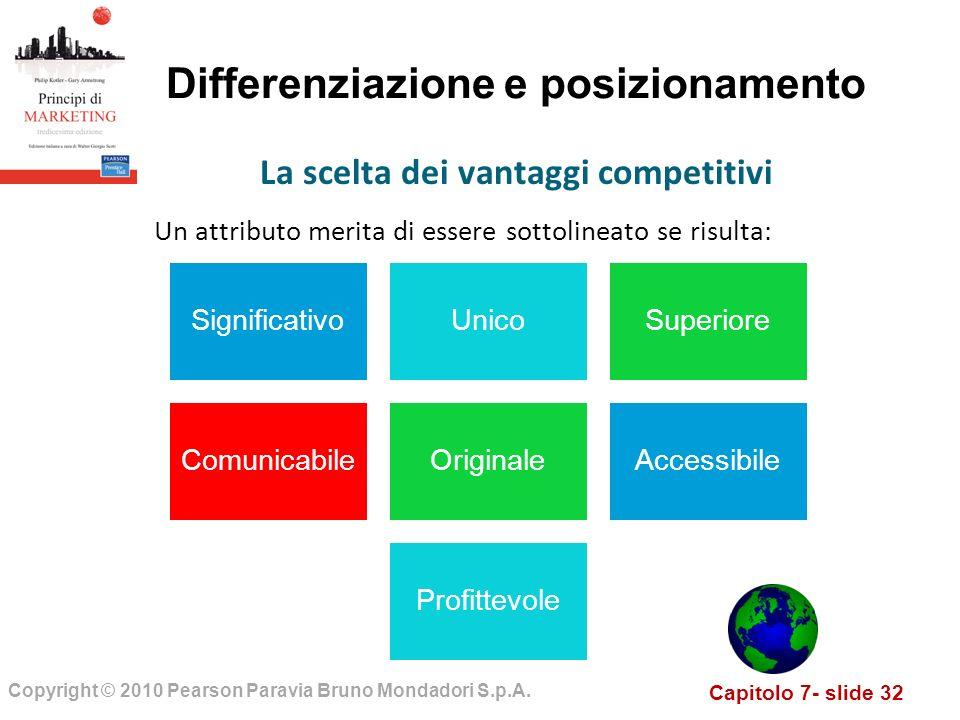 Capitolo 7- slide 32 Copyright © 2010 Pearson Paravia Bruno Mondadori S.p.A. Differenziazione e posizionamento Un attributo merita di essere sottoline