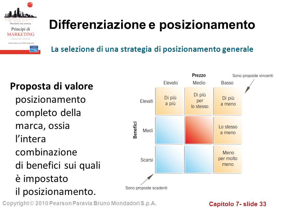 Capitolo 7- slide 33 Copyright © 2010 Pearson Paravia Bruno Mondadori S.p.A. Differenziazione e posizionamento Proposta di valore posizionamento compl