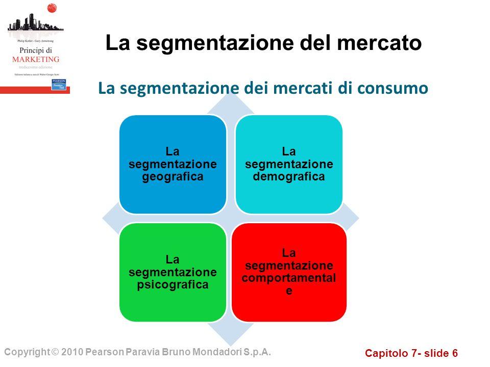 Capitolo 7- slide 6 Copyright © 2010 Pearson Paravia Bruno Mondadori S.p.A. La segmentazione del mercato La segmentazione geografica La segmentazione