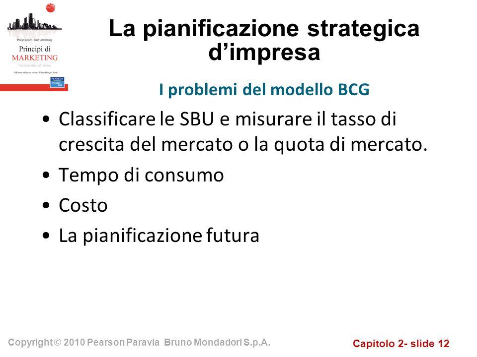Capitolo 2- slide 12 Copyright © 2010 Pearson Paravia Bruno Mondadori S.p.A. La pianificazione strategica dimpresa Classificare le SBU e misurare il t