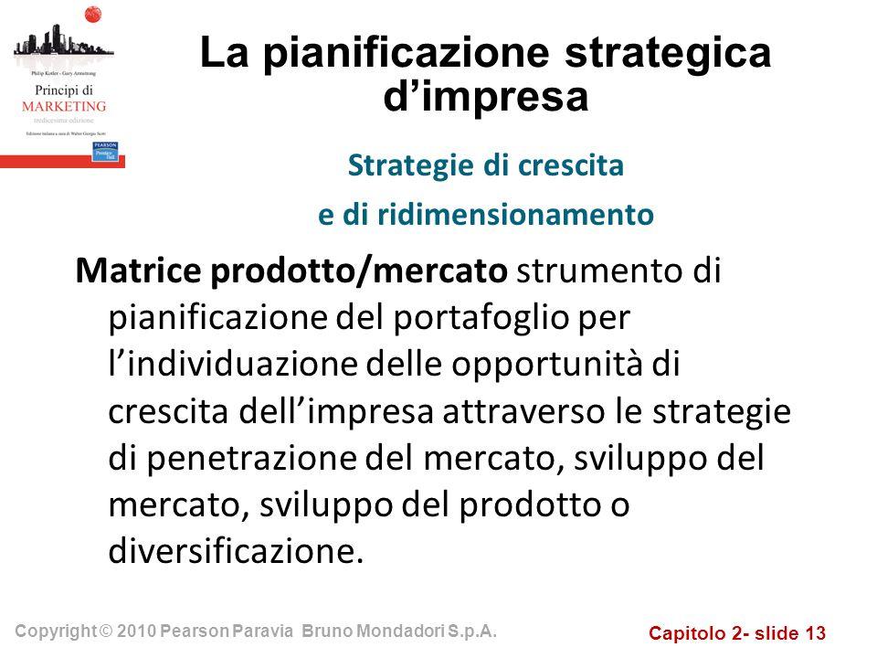 Capitolo 2- slide 13 Copyright © 2010 Pearson Paravia Bruno Mondadori S.p.A. La pianificazione strategica dimpresa Matrice prodotto/mercato strumento