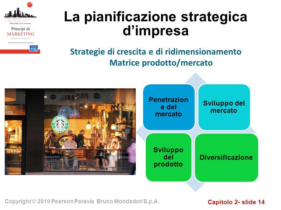 Capitolo 2- slide 14 Copyright © 2010 Pearson Paravia Bruno Mondadori S.p.A. La pianificazione strategica dimpresa Strategie di crescita e di ridimens