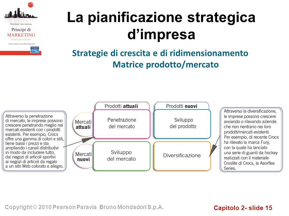 Capitolo 2- slide 15 Copyright © 2010 Pearson Paravia Bruno Mondadori S.p.A. La pianificazione strategica dimpresa Strategie di crescita e di ridimens