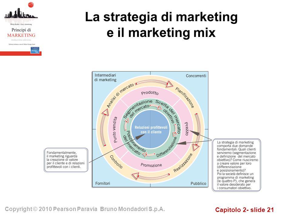 Capitolo 2- slide 21 Copyright © 2010 Pearson Paravia Bruno Mondadori S.p.A. La strategia di marketing e il marketing mix