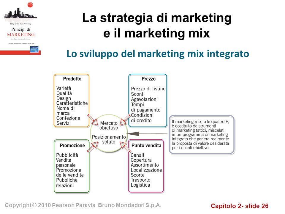 Capitolo 2- slide 26 Copyright © 2010 Pearson Paravia Bruno Mondadori S.p.A. La strategia di marketing e il marketing mix Lo sviluppo del marketing mi