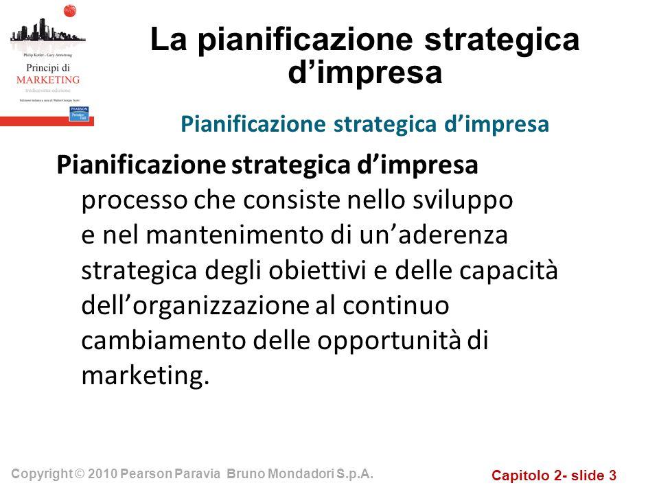Capitolo 2- slide 3 Copyright © 2010 Pearson Paravia Bruno Mondadori S.p.A. La pianificazione strategica dimpresa Pianificazione strategica dimpresa p