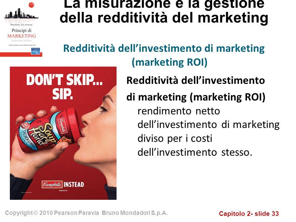 Capitolo 2- slide 33 Copyright © 2010 Pearson Paravia Bruno Mondadori S.p.A. La misurazione e la gestione della redditività del marketing Redditività