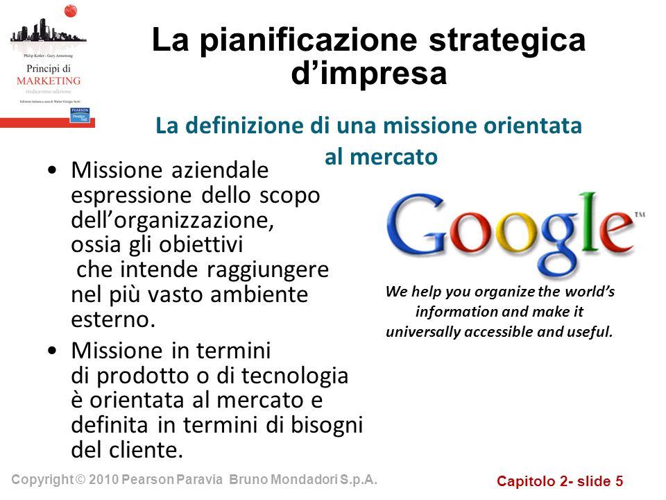 Capitolo 2- slide 5 Copyright © 2010 Pearson Paravia Bruno Mondadori S.p.A. La pianificazione strategica dimpresa Missione aziendale espressione dello