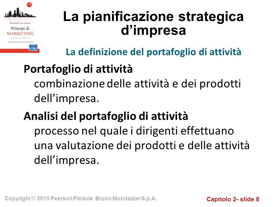 Capitolo 2- slide 8 Copyright © 2010 Pearson Paravia Bruno Mondadori S.p.A. La pianificazione strategica dimpresa Portafoglio di attività combinazione
