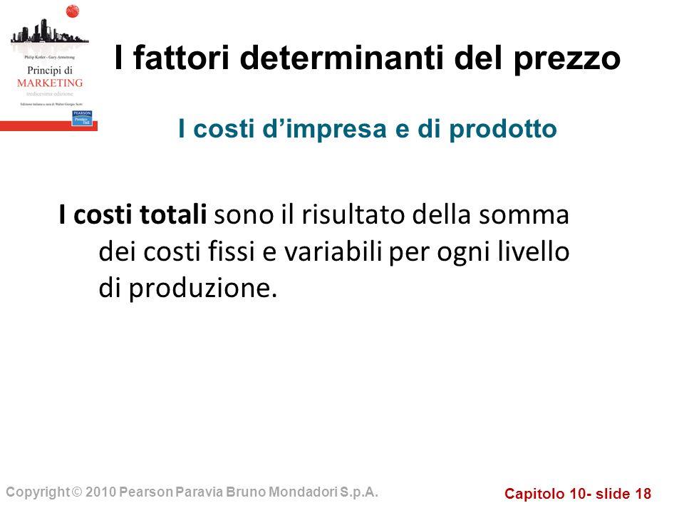 Capitolo 10- slide 18 Copyright © 2010 Pearson Paravia Bruno Mondadori S.p.A. I fattori determinanti del prezzo I costi totali sono il risultato della