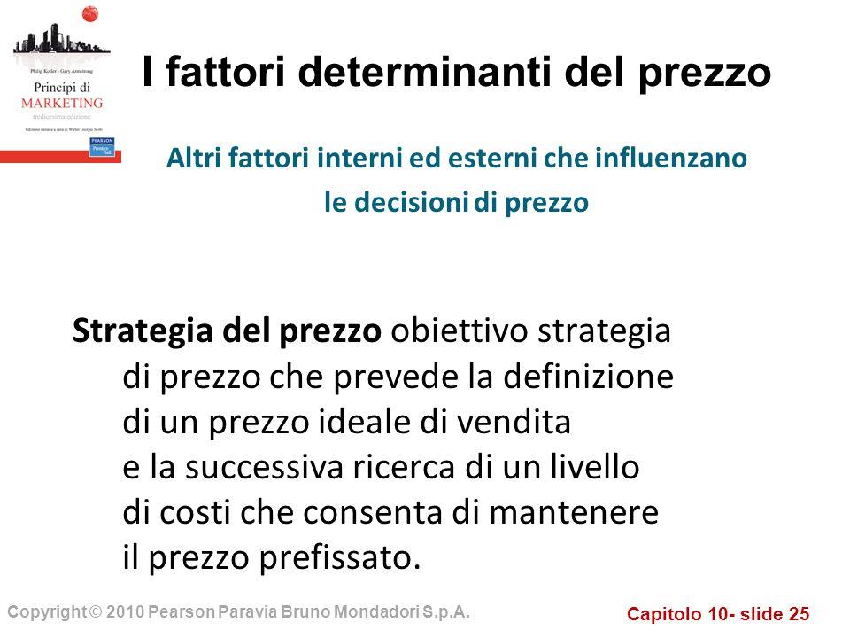 Capitolo 10- slide 25 Copyright © 2010 Pearson Paravia Bruno Mondadori S.p.A. I fattori determinanti del prezzo Strategia del prezzo obiettivo strateg