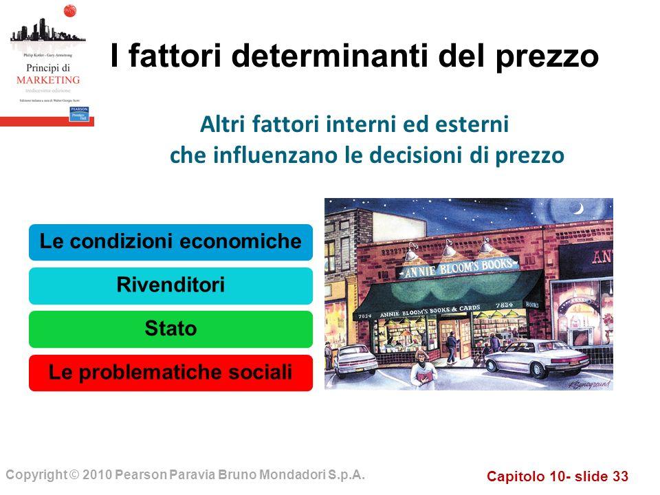 Capitolo 10- slide 33 Copyright © 2010 Pearson Paravia Bruno Mondadori S.p.A. I fattori determinanti del prezzo Le condizioni economicheRivenditoriSta