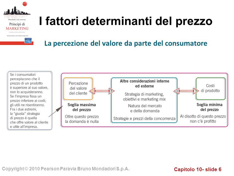 Capitolo 10- slide 6 Copyright © 2010 Pearson Paravia Bruno Mondadori S.p.A. I fattori determinanti del prezzo La percezione del valore da parte del c
