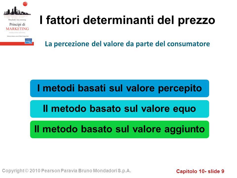 Capitolo 10- slide 9 Copyright © 2010 Pearson Paravia Bruno Mondadori S.p.A. I fattori determinanti del prezzo I metodi basati sul valore percepitoIl