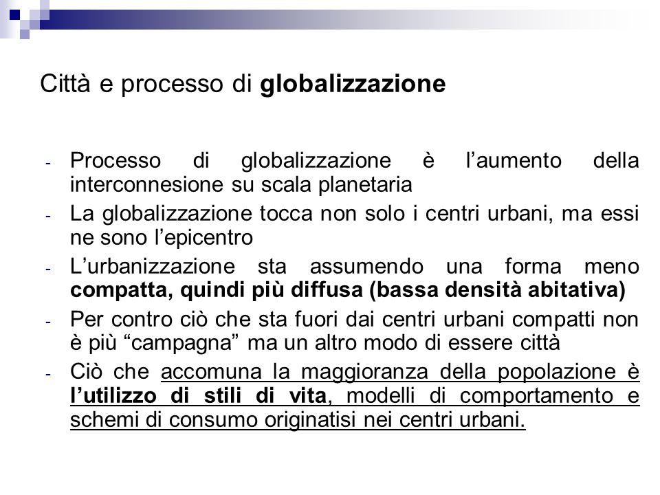 Città e processo di globalizzazione - Processo di globalizzazione è laumento della interconnesione su scala planetaria - La globalizzazione tocca non
