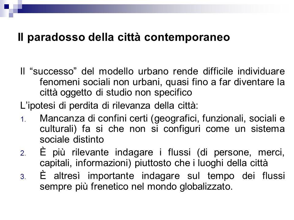 Il paradosso della città contemporaneo Il successo del modello urbano rende difficile individuare fenomeni sociali non urbani, quasi fino a far divent