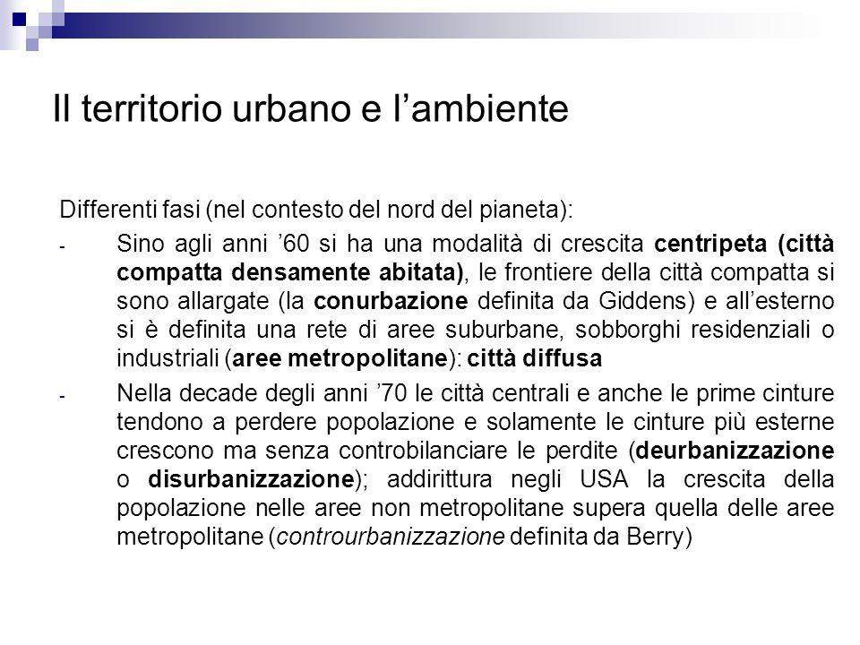 Il territorio urbano e lambiente Differenti fasi (nel contesto del nord del pianeta): - Sino agli anni 60 si ha una modalità di crescita centripeta (c