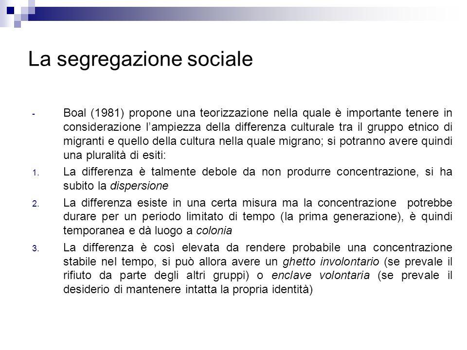 La segregazione sociale - Boal (1981) propone una teorizzazione nella quale è importante tenere in considerazione lampiezza della differenza culturale