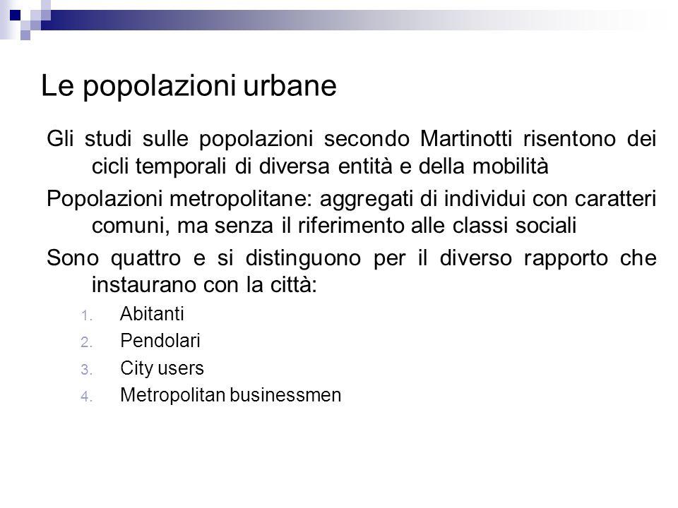 Le popolazioni urbane Gli studi sulle popolazioni secondo Martinotti risentono dei cicli temporali di diversa entità e della mobilità Popolazioni metr