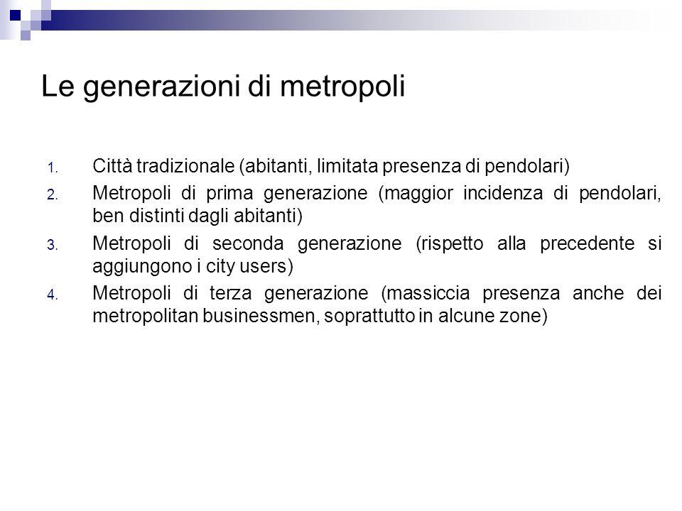 Le generazioni di metropoli 1. Città tradizionale (abitanti, limitata presenza di pendolari) 2. Metropoli di prima generazione (maggior incidenza di p