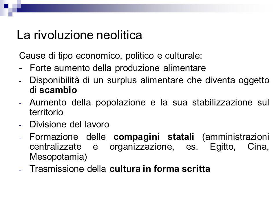 La rivoluzione neolitica Cause di tipo economico, politico e culturale: - Forte aumento della produzione alimentare - Disponibilità di un surplus alim